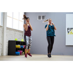 Débardeur fitness cardio training femme chiné bordeaux 120