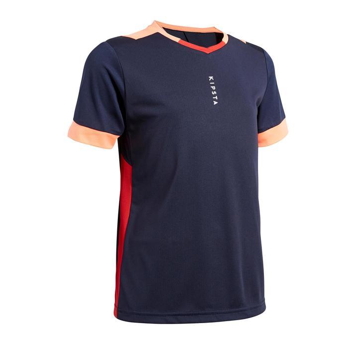 Voetbalshirt voor meisjes F500 marineblauw/koraalroze