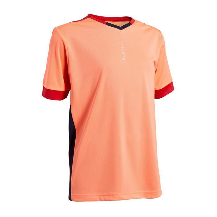 Voetbalshirt voor meisjes F500 koraalroze/marineblauw