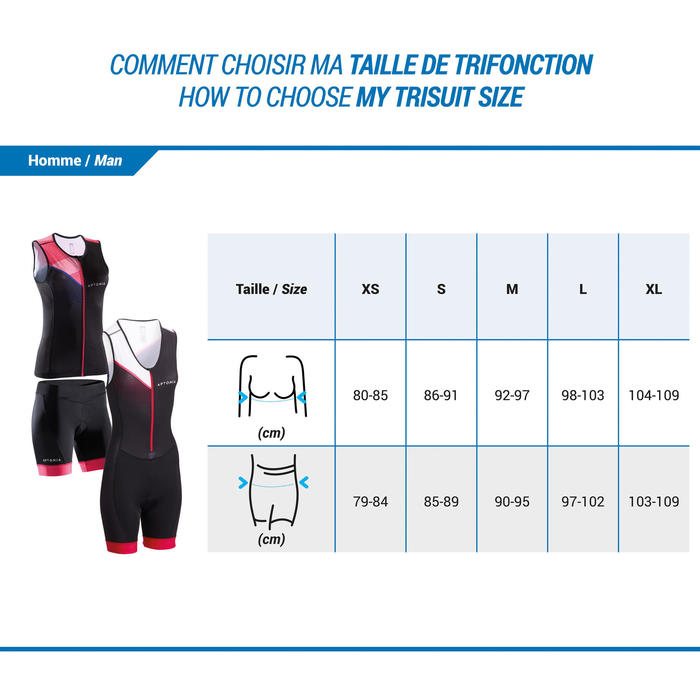 Mouwloze triatlontop rits vooraan voor dames zwart/roze