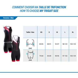 Triathlon-Oberteil ärmellos Frontreißverschluss Damen schwarz/rosa