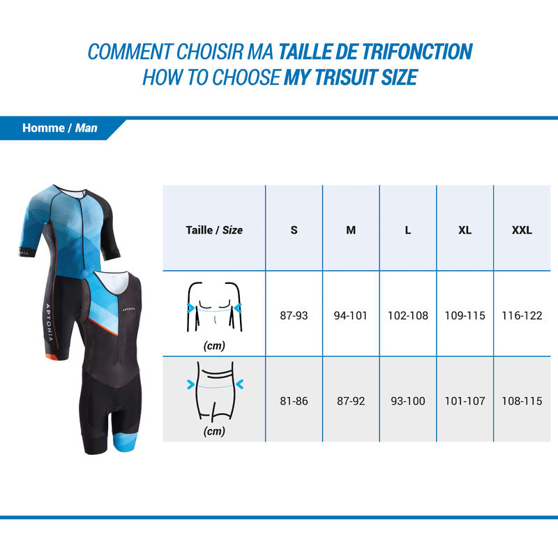 LD Triathlon Men Short Sleeves Trisuit Front Zip Blue/Black