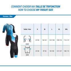 LD Triathlon Men's Short-Sleeved Trisuit Front Zipper Blue/Black