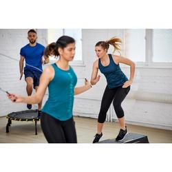 Legging 7/8 fitness cardio training femme bleu marine 120