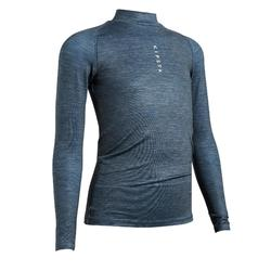 Kids' Warm Long-Sleeved Football Base Layer Top Keepdry 100 - Mottled Grey