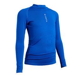 Warm ondershirt voor voetbal kinderen Keepdry 100 blauw