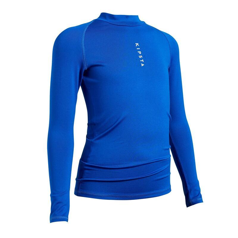 Warm voetbalondershirt met lange mouwen voor kinderen Keepdry 100 blauw