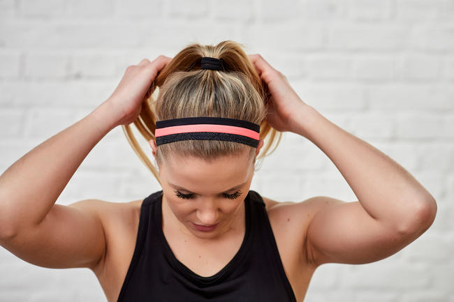 Cardio Fitness Training Hair Ties x 3 - Pink/Black
