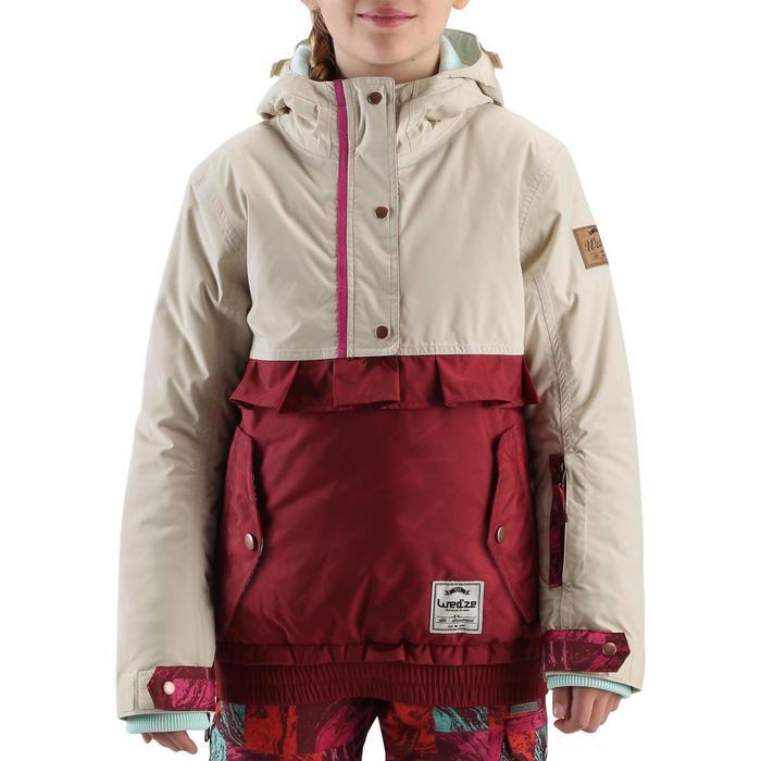 Veste ski enfant fille MIDSTYLE bordeaux et beige - 167392