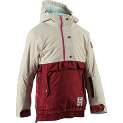 Veste ski enfant fille MIDSTYLE bordeaux et beige