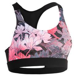 Sujetador-top fitness cardio-training mujer estampado floral 500