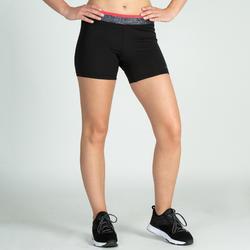 Pantalón corto Short Deportivo Fitness Cardio Domyos 100 mujer negro