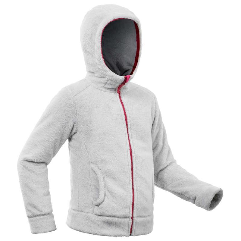 Fleece, Softshell, wattierte Jacken Mädchen 7-15J Wandern - Fleecejacke SH100 Warm Kinder QUECHUA - Wanderbekleidung und Zubehör