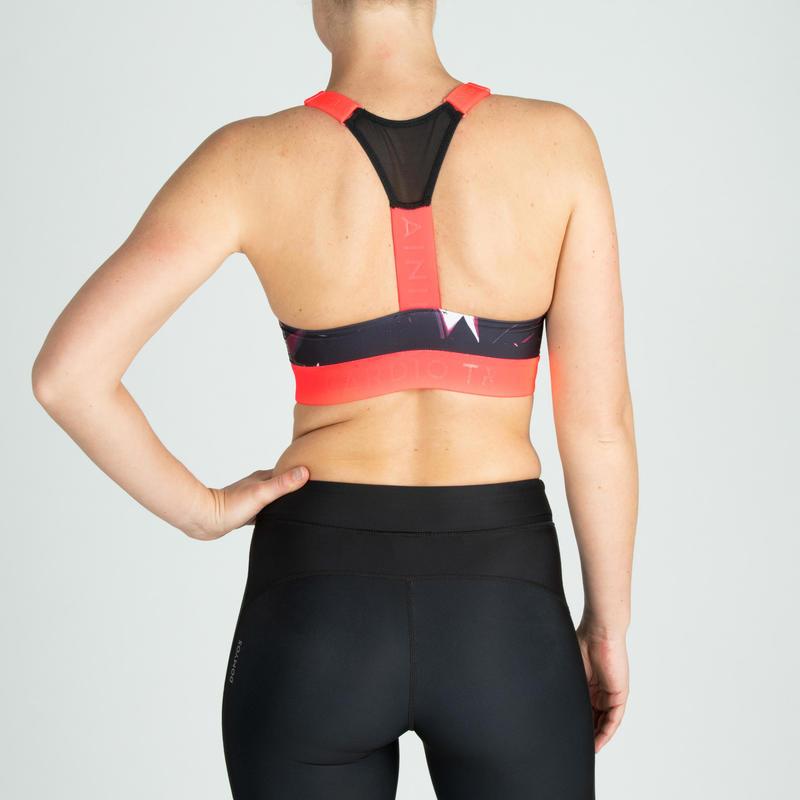 Women's Medium-Impact Cardio Fitness Sports Bra - Black Print