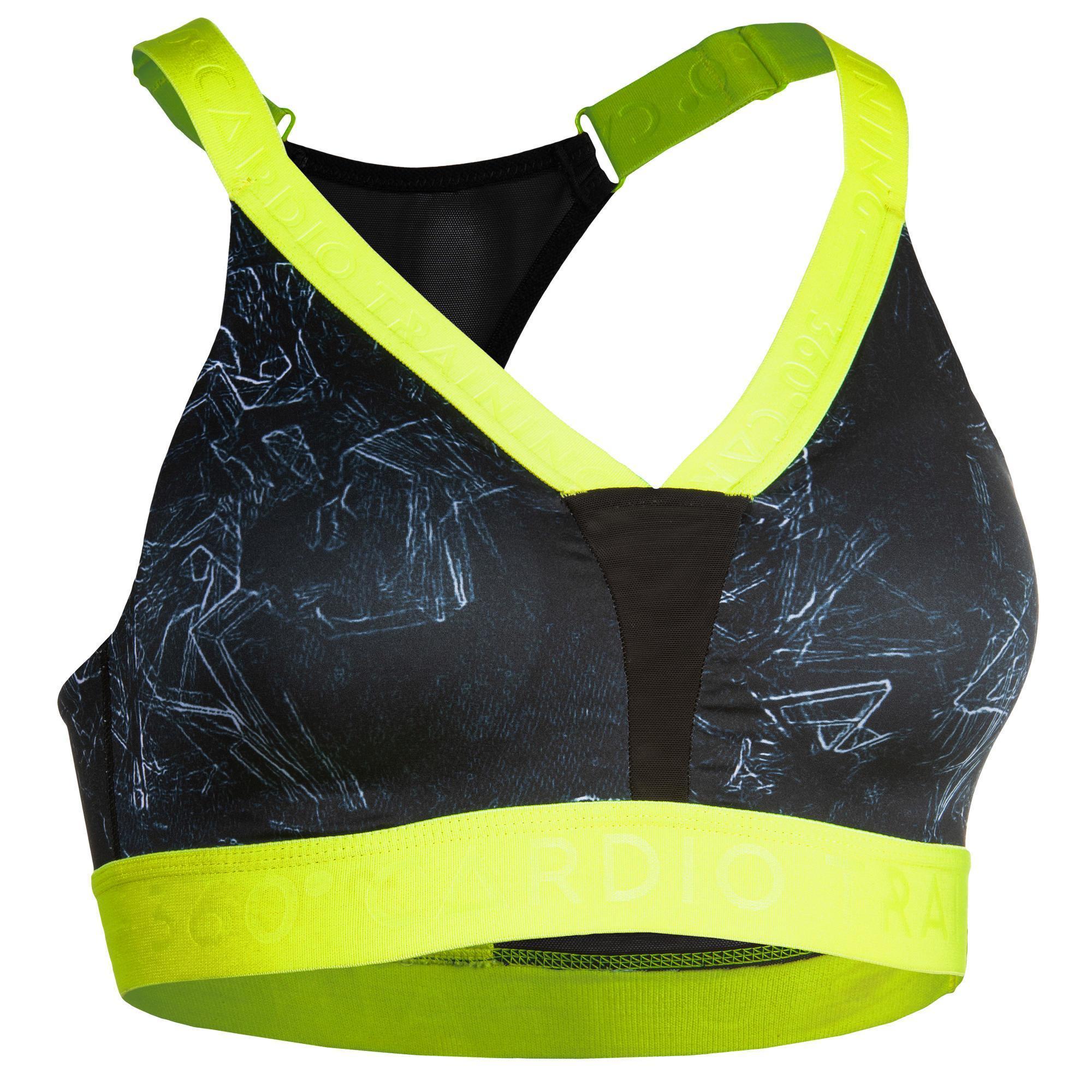 Sport-BH FBRA 500 Fitness Cardio Damen mit grünem Print