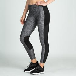 Mallas Leggings Deportivos Cardio Fitness Domyos 120 mujer negro blanco