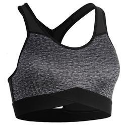 女款有氧健身運動內衣500-刷色灰
