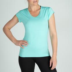 Camiseta Cardio Fitness Domyos 100 mujer turquesa