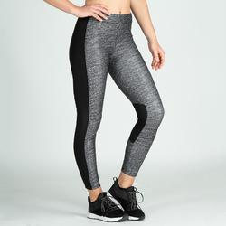 Leggings fitness cardio-training mujer gris jaspeado 120