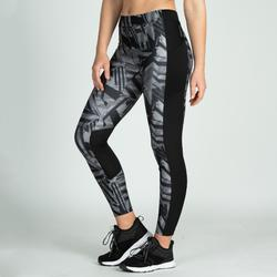 Mallas Leggings Deportivos Cardio Fitness Domyos 120 mujer gris negro