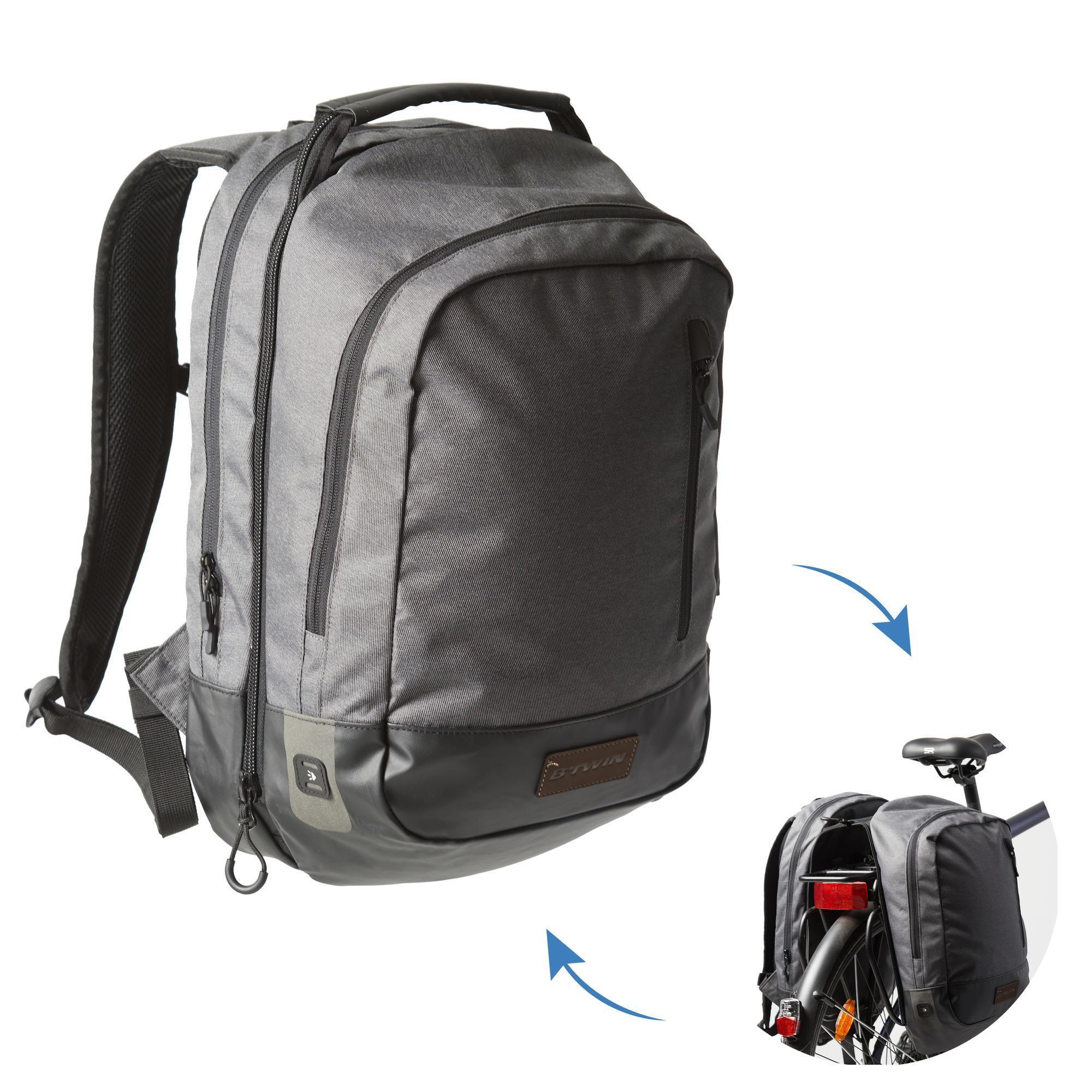 Fahrradtasche Gepäcktasche Rucksack 500 25 Liter grau/schwarz | Taschen > Businesstaschen > Fahrrad-taschen Büro | Elops