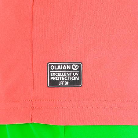playera top anti-UV surf manga corta júnior coral