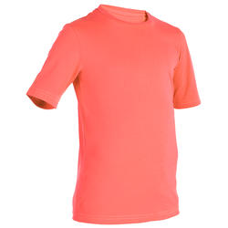 playera top anti-UV surf manga corta júnior coral