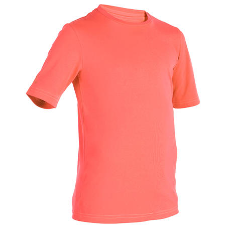 T-shirt d'eau anti-UV Surf manches courtes enfant corail