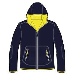 Veste polaire chaude réversible enfant Sailing 500 Bleu marine jaune fluo