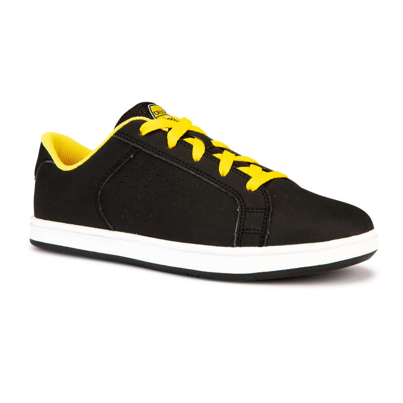 KIDS SKATEBOARD SHOES Skateboarding and Longboarding - Crush 100 Black Yellow OXELO - Skateboarding and Longboarding