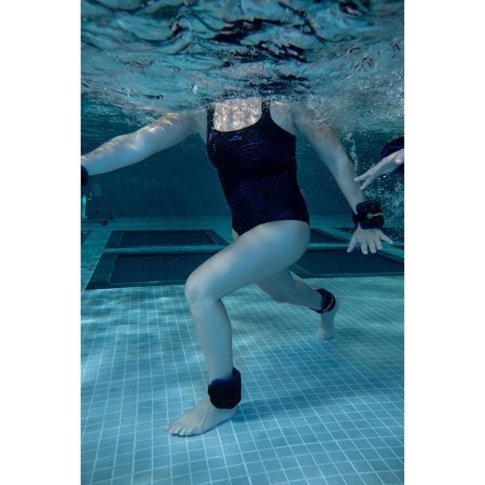 Damesbadpak voor aquafitness Anna all rib blauw