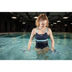 Damesbadpak voor aquafitness Anna blauw groen
