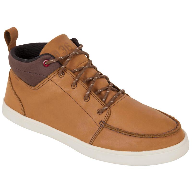 Zapatos náuticos de cuero impermeables para hombre KOSTALDE RAIN marrón
