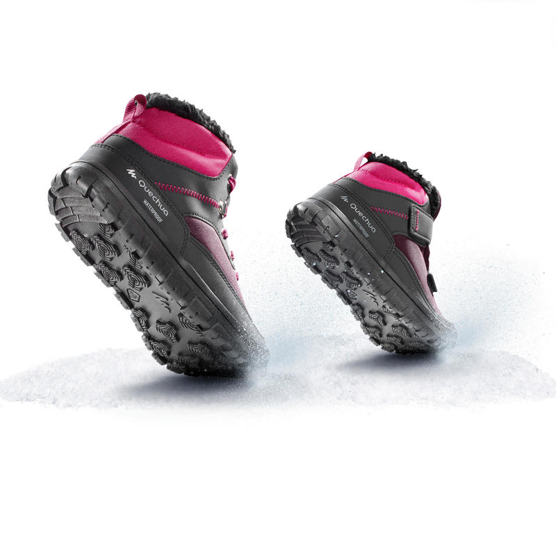 Children's warm lace-up snow hiking boots SH100 warm mid - Pink