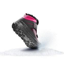 Chaussures chaudes de randonnée neige enfant SH100 autoagrippante mi-haute roses