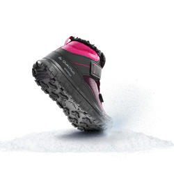 SH100 Warm JR Velcro Mid-Height Snow Hiking Boots - Pink