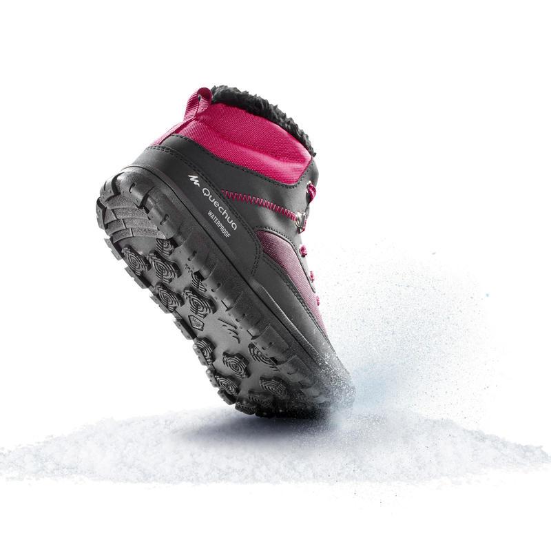 Botas cálidas de nieve niños talla 33-38 SH100 cordones rosa