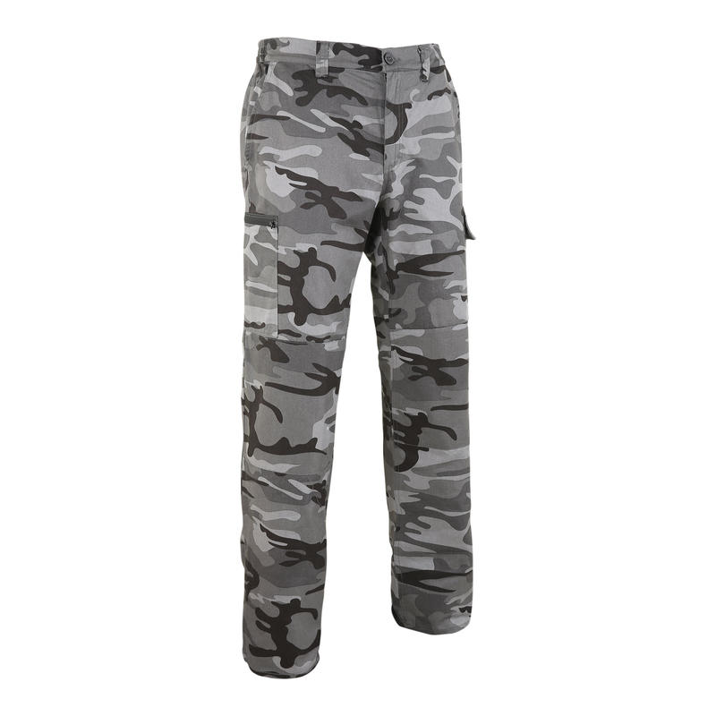 Hunting trousers strong woodland camouflage Steppe 300 black