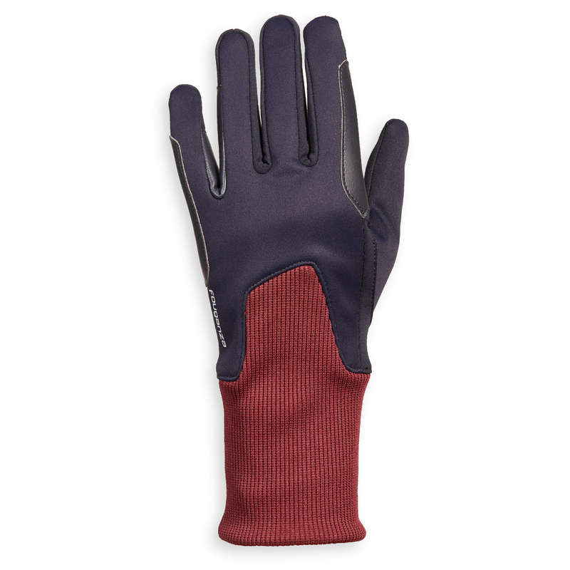 CW RIDING GLOVES AND SOCKS JUN Clothing  Accessories - 140 Warm Gloves Navy/Burgundy FOUGANZA - Accessories