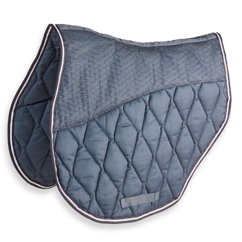 HORSE SADDLE PADS Horse Riding - Saddle Cloth 500 Jump - Grey FOUGANZA - Saddlery and Tack
