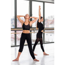 Soepele broek voor moderne dans dames zwart aanpasbaar