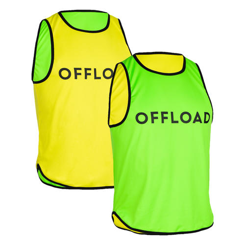 Chasuble réversible rugby R500 jaune/ vert