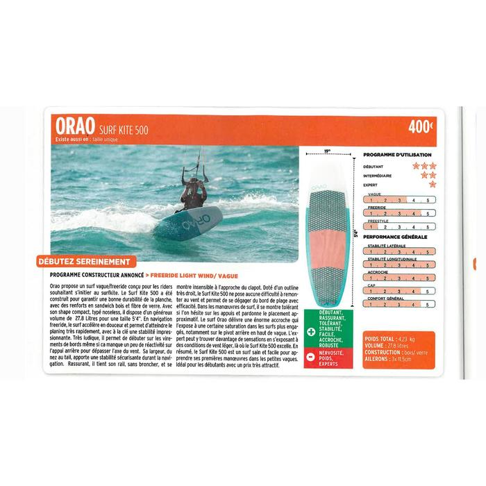 """Strapless kiteboard voor freeride/wave - """"Surf Kite 500"""" - 5'4"""