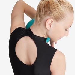 Mouwloos turnpakje voor ritmische gymnastiek zwart met strass