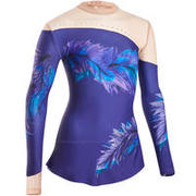 GIRL AND WOMEN Rhythmic Gymnastics Long-Sleeved Skirted Leotard - Purple