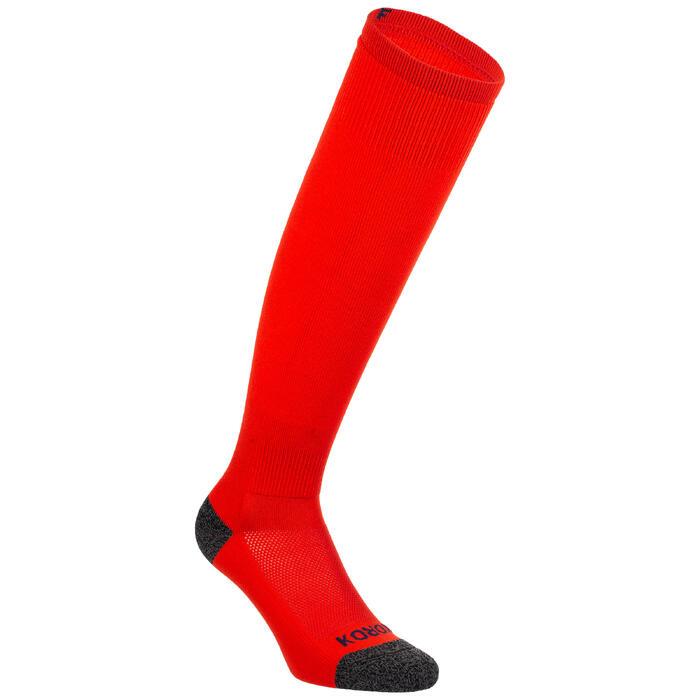 Chaussettes de hockey sur gazon enfant FH500 rouge