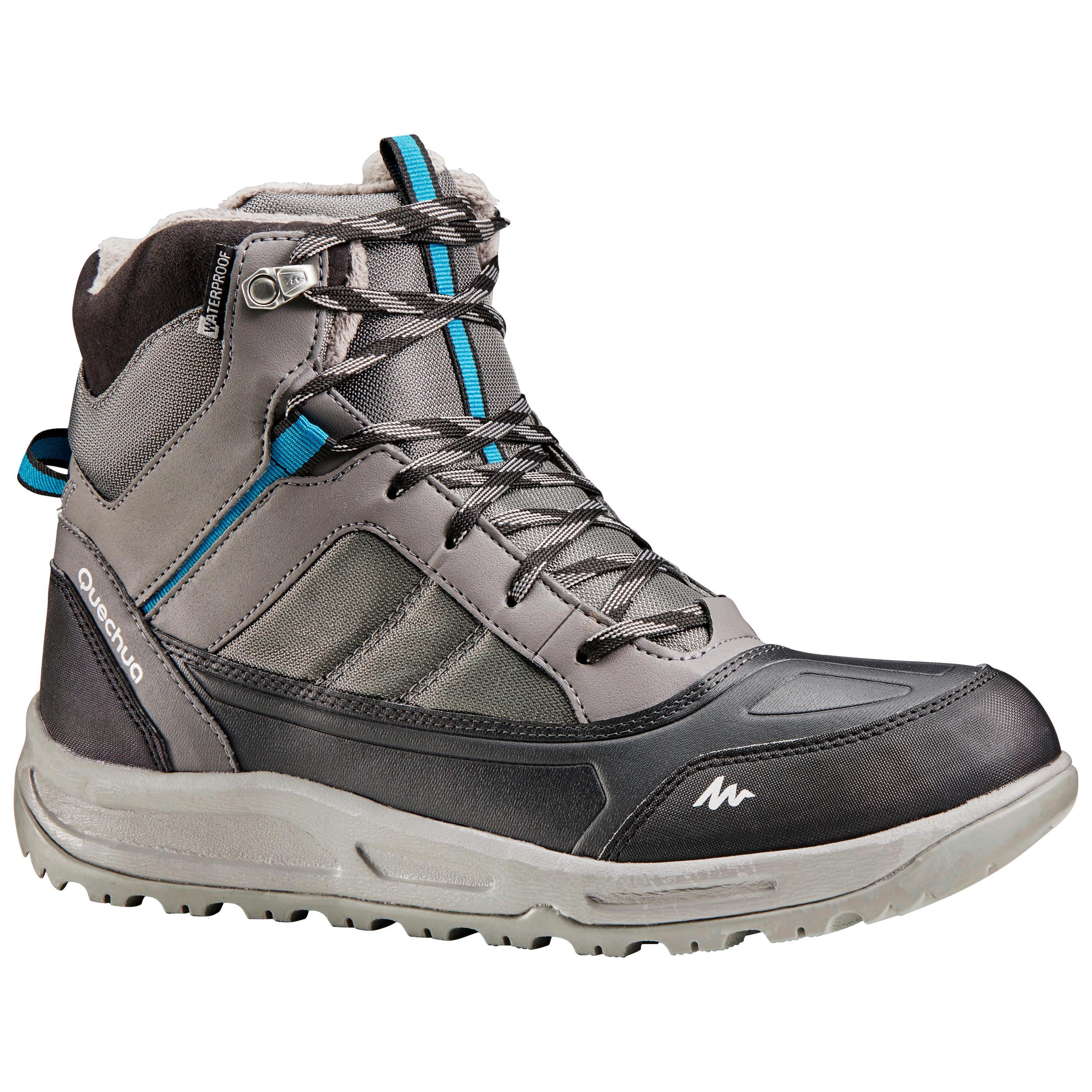 Chaussures de randonnée neige homme sh120 warm mid grises. quechua