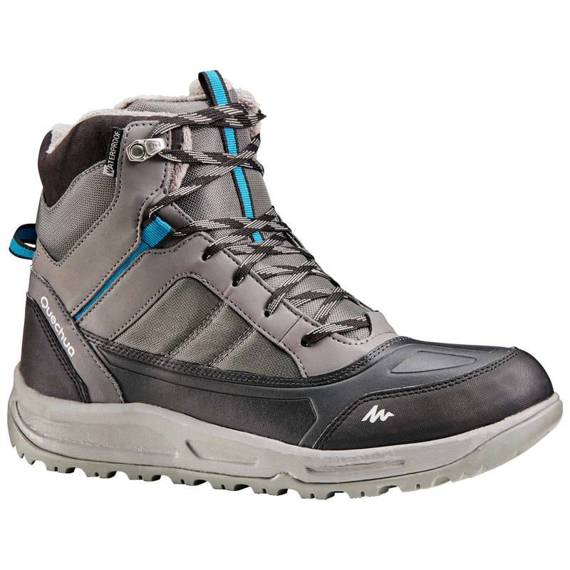MEN SNOW HIKING WARM SHOES & GRIPS Hiking - M WARM MID SHOES SH120 - Grey QUECHUA - Outdoor Shoes