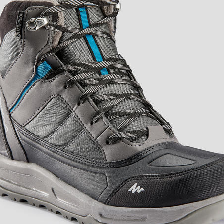 Men's Warm Mid Snow Hiking Shoes SH120 - Grey.