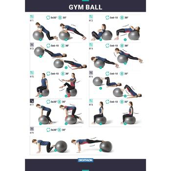 Fitball Swiss Ball Gimnasia Pilates Domyos 500 Medium Gris